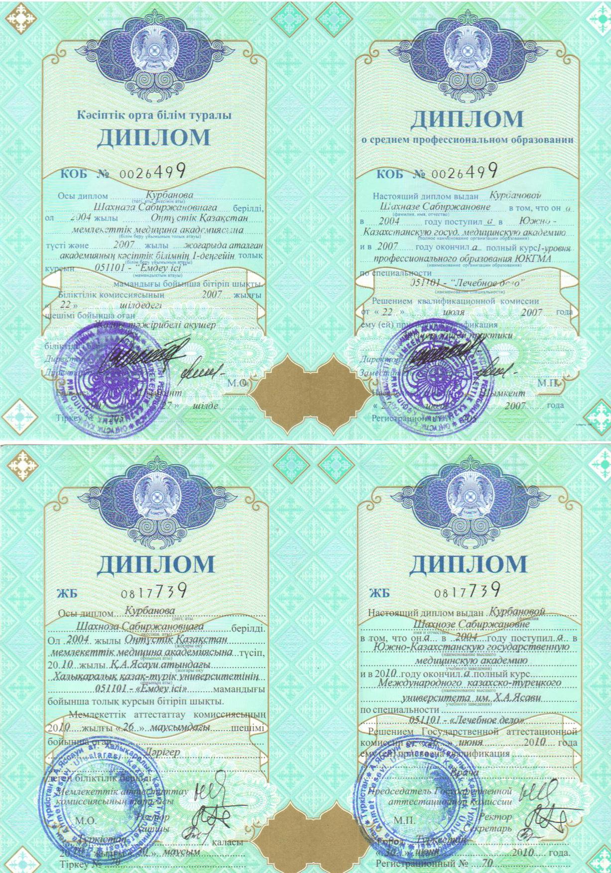 Диплом Фукциональной диагностики клиники Akniet Shipa сайрамский р-н. с. Карабулак